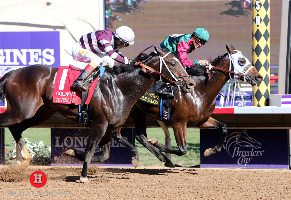 Bookies Luck Noses Out Smokem in Golden State Juvenile Stakes